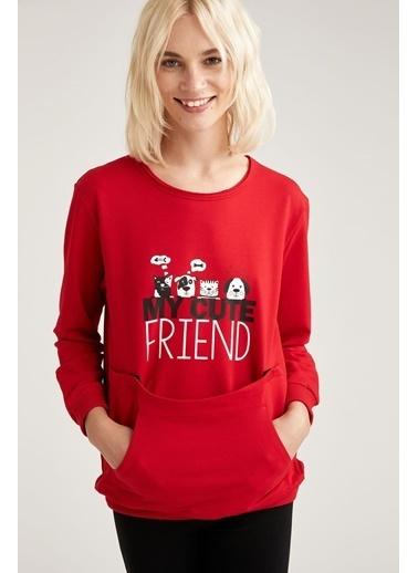 Defacto –Fit Hayvan Baskılı Kanguru Cepli Sweatshirt Kırmızı